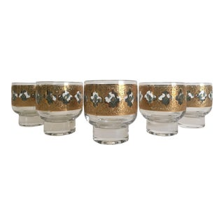 Vintage Mid-Century Modern Moroccan Gold Leaf Lowball Rocks Glasses - Set of 5 For Sale