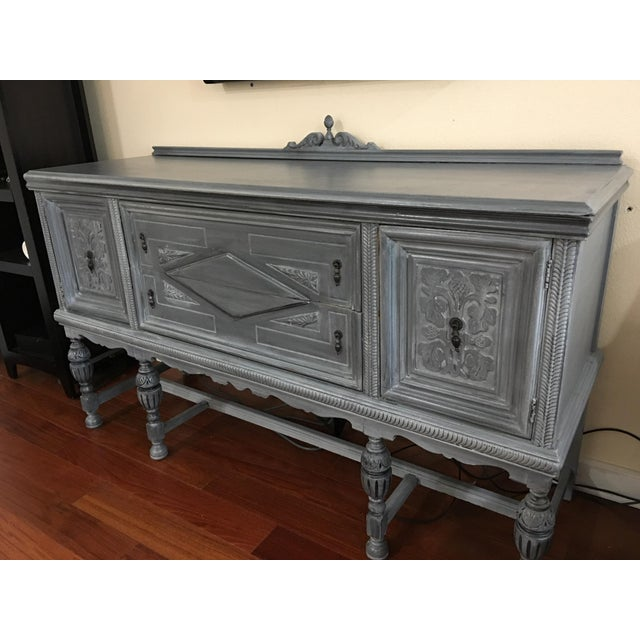 Vintage Hand-Painted Distressed Sideboard For Sale - Image 4 of 9