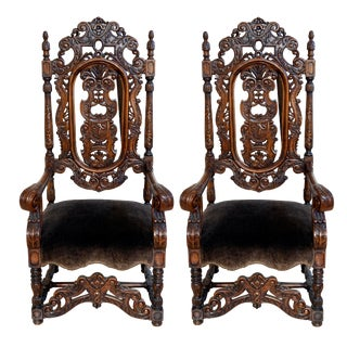 Hand-Carved English Gothic Chairs- A Pair For Sale