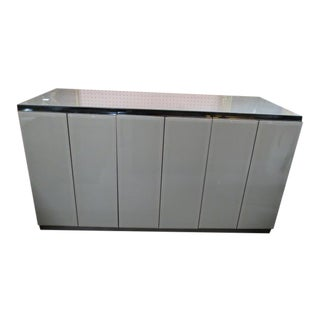 Vintage Post Modern Ello Gray Glass 3 Door Credenza For Sale