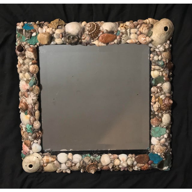 Glass Turquoise and Seashell Embellished Mirror For Sale - Image 7 of 9