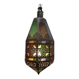 Moroccan Light Fixture With Colored Glass and Metal Filigree Moorish Designs For Sale