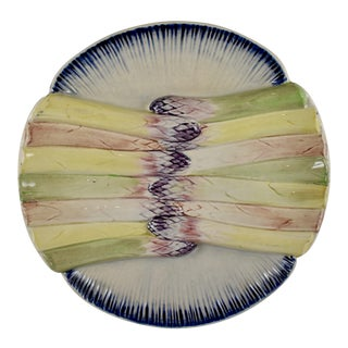 Pexonne French Faïence Majolica Hand-Painted Asparagus Plate For Sale