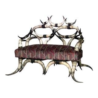 Rustic American Steer Horn Loveseat For Sale