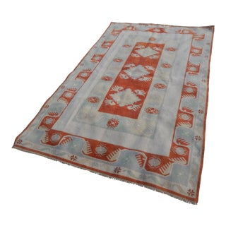 """Decorative Turkish Soft Muted Color Oushak Living Room Rug 5'1"""" X 7'9"""" For Sale"""