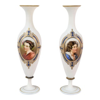 19th Century Hand Painted Bristol Glass Portrait Vases - a Pair For Sale