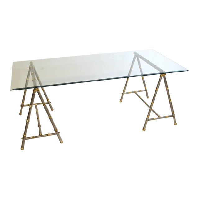 Maison Jansen Style Steel and Brass Coffee Table For Sale