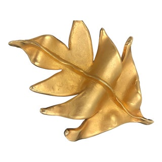 Chanel Brooch Pin Gilt Gold Plate Large Statement Autumn Fall Leaf Vintage 1984 For Sale