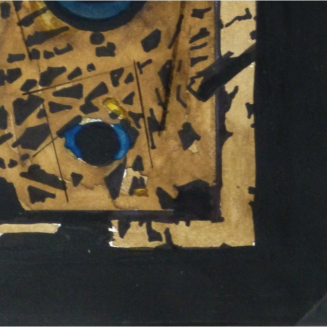 Abstract ink and watercolor painting of metal pieces on a black background, circa 1980. Displayed on a white mat with a...