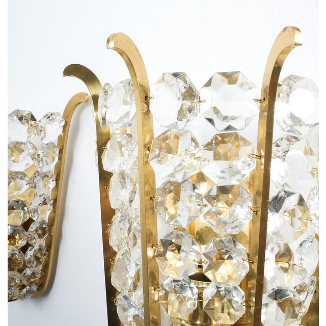 Bakalowits & Sohne Pair of Bakalowits Crown Sconces Brass and Glass, Austria 1955 For Sale - Image 4 of 8