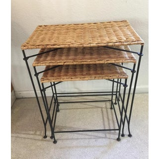 Vintage Country Wicker Nesting Tables With Black Metal Legs - Set of 3 Preview