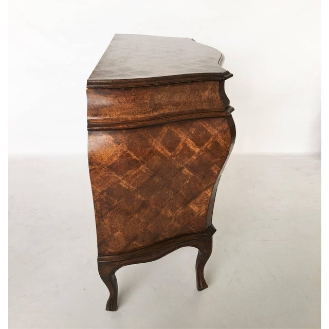 Brown Italian Bombe Parquetry Commode For Sale - Image 8 of 10