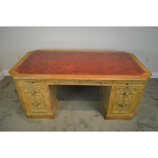 French Rococo Style Custom Quality Carved Executive Desk For Sale In Philadelphia - Image 6 of 12