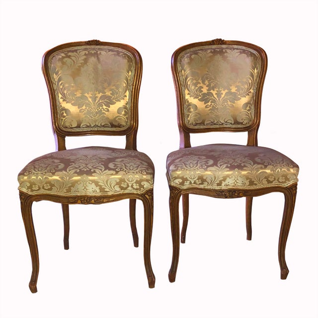 1950s Louis XV Style Champagne Gold Fabric Chairs - a Pair For Sale - Image 6 of 6