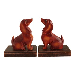 Black Forest Style Dachshund Bookends For Sale