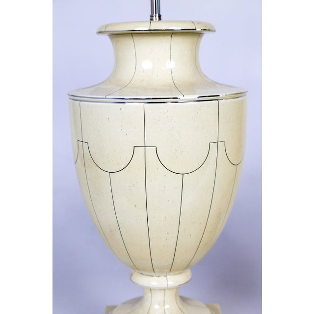White Vintage Silver Trimmed Ivory Ceramic Urn Lamps by Jean Roger - a Pair For Sale - Image 8 of 10