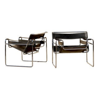 Mid Century Breuer Gavina Wassily Chairs- Made in Italy- a Pair For Sale