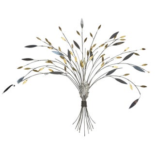 Curtis Jere Mid-Century Trompe l'Oeil Metal Sheaf of Wheat Wall Sculpture Signed For Sale