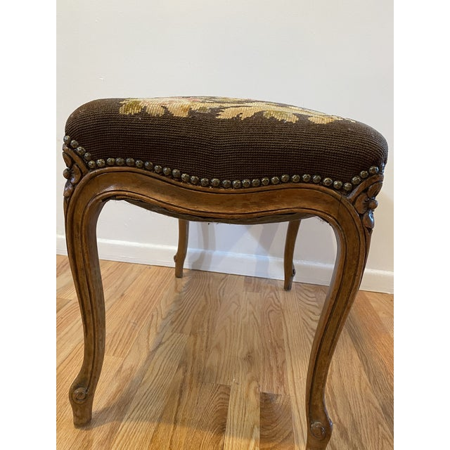 Victorian Vintage Needle Point Drum and Flower Design Bench For Sale - Image 3 of 10