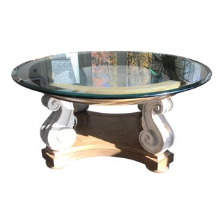 Stone and Wood and Glass Top Table For Sale