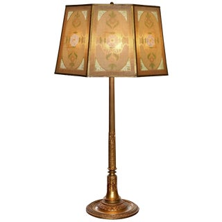 Tiffany Studios New York Bronze Lamp With Original Shade For Sale