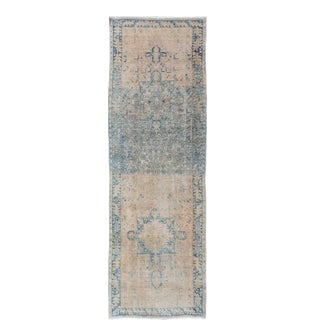 Vintage Persian Heriz Gallery Runner With Geometric Design in Beige, Blue-Gray For Sale