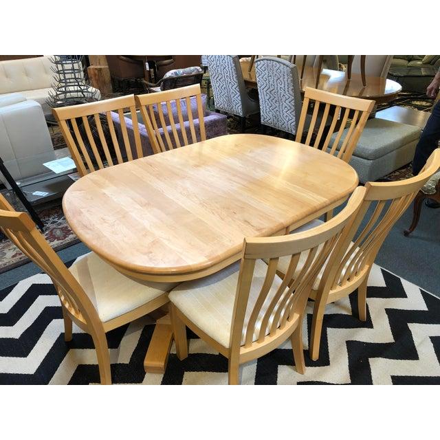 Scandinavian Designs Transitional Maple Dining Set - Set of 7 | Chairish
