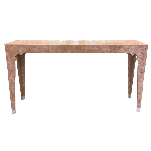 Maitland Smith Pink Tessellated Stone Console Table For Sale