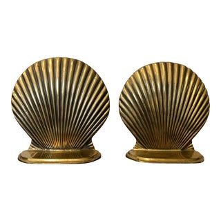 Vintage Solid Brass Nautical Seashell Bookends - a Pair For Sale