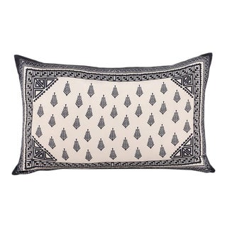 Abstract Aztec Inspired Silk Cushion Ivory Black For Sale