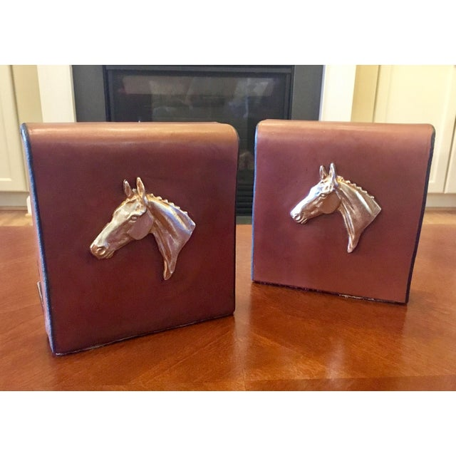 English Equestrian Saddle Leather Bookends - a Pair For Sale - Image 12 of 12