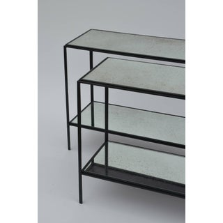 Pair of Narrow 'Rectiligne' Mirrored Wrought Iron End Tables by Design Frères Preview