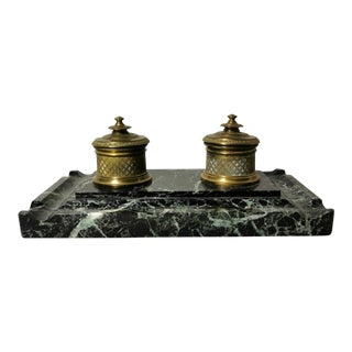 19th Century French Napoleon III Bronze and Marble Inkwell Set For Sale