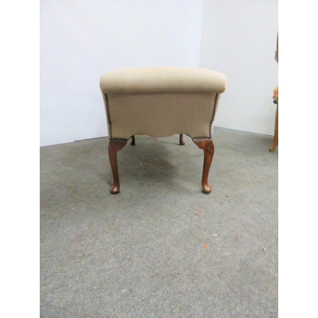 Queen Anne Linen Upholstered Bench For Sale - Image 4 of 7