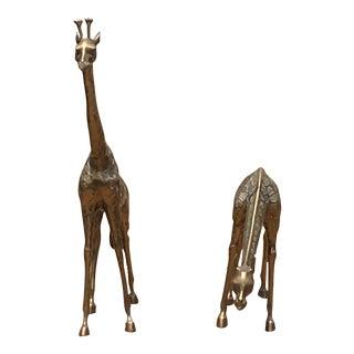 Vintage Brass Giraffes Figurines - a Pair For Sale