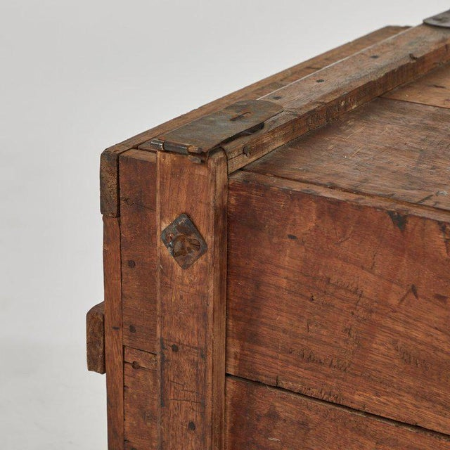 Primitive Rustic Wood Chest as Coffee Table For Sale - Image 3 of 5