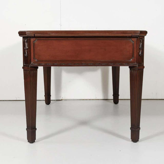 Mid 19th Century 19th Century French Louis XVI Style Walnut Bureau Plat or Desk With Leather Top For Sale - Image 5 of 13