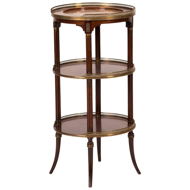 19th Century Three Tier Side Table in Mahogany With Marble Top and Brass Galley For Sale