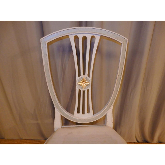 Gold Leaf Late 19th C Painted Swedish Dining Chairs - Set of 8 For Sale - Image 7 of 9