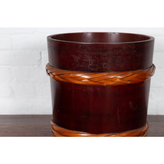 Vintage Chinese Wooden Barrel Planter with Rope Design with Red Undertone For Sale - Image 4 of 10