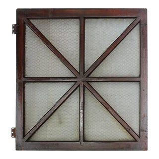 Early 1900s American Wood & Chicken Wire Glass Window For Sale