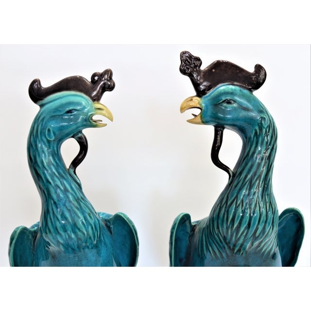 1960s Extra Large Antique 1940s Chinese Porcelain Phoenix Bird Figurines - a Pair-Oriental Sculpture Asian Mid Century Modern Palm Beach Tropical Parrots For Sale - Image 5 of 13
