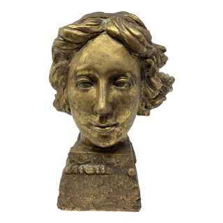 1970s Vintage Montaage Sculpted Wooden Bust Sculpture For Sale