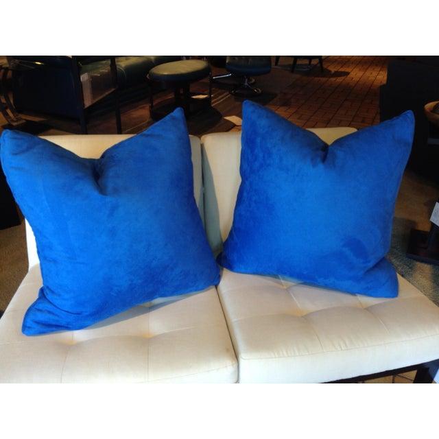 "Contemporary Designers Guild Custom ""Mezzola"" Square Edge Cobalt Blue Accent Pillows - a Pair For Sale - Image 3 of 7"