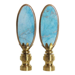 Light Blue Turquoise Stone Finials in 14 Kt Gold, by C. Damien Fox - a Pair For Sale