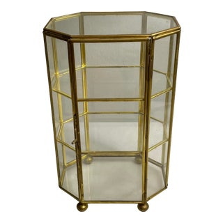 Vintage Mid 20th Century Brass & Glass Footed Tabletop Vitrine For Sale