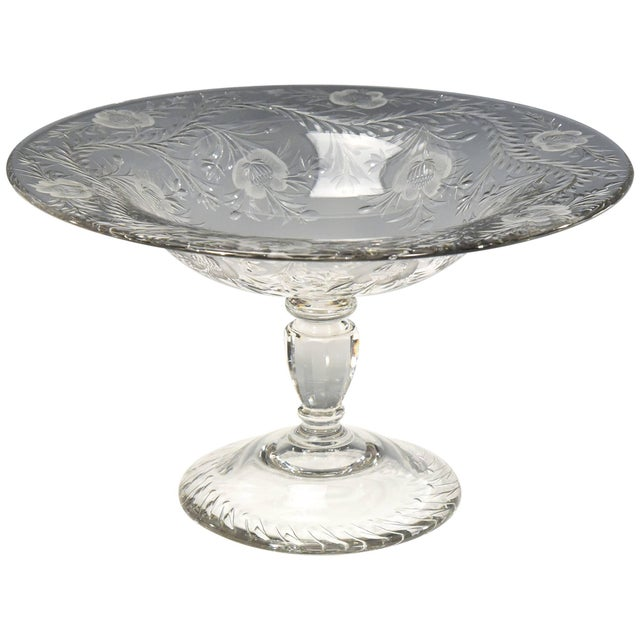 Glass Webb Monumental Blown Crystal Footed Centerpiece w/ Wheel Cut Floral Engraving For Sale - Image 7 of 7