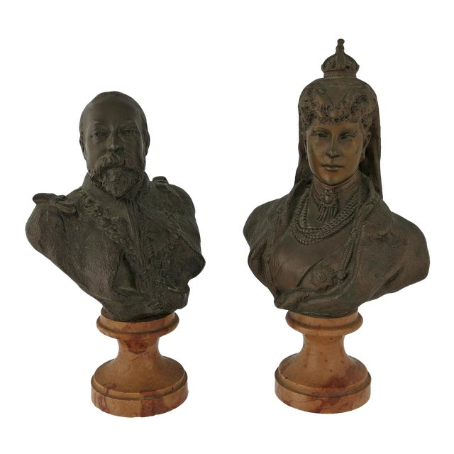 Early 20th Century Vintage Edward VII & Alexandra of Denmark Bronze Portrait Busts- a Pair For Sale