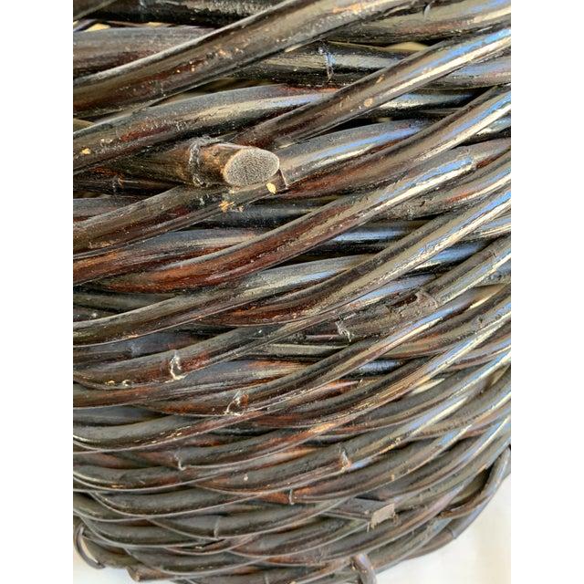 Boho Chic Large Rustic Earthy Wood Decor Storage Basket For Sale - Image 3 of 10