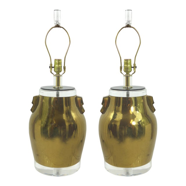 Vintage Brass & Lucite Urn Lamps - A Pair - Image 1 of 10